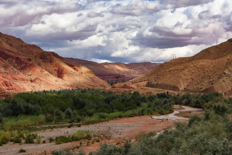 The beautiful Rose Valley - Vallee des Roses, near Ouarzazate, Morocco stock photos