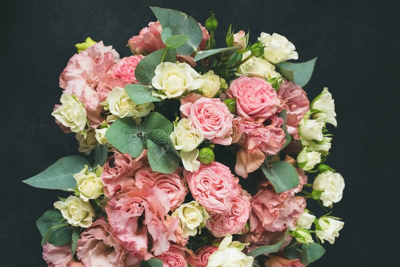 Beautiful Roses Bouquet With Eucalyptus royalty free stock images