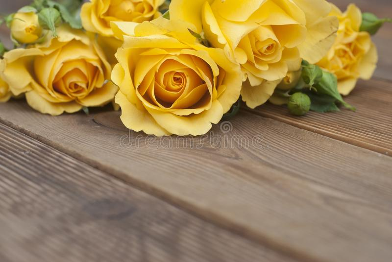Beautiful Roses Bouquet over Wooden Table. Copy Space. Vintage yeelow flowers. royalty free stock images