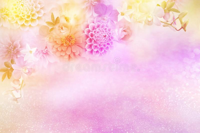 Beautiful roses flower border in soft pink vintage tone color with glitter background stock illustration