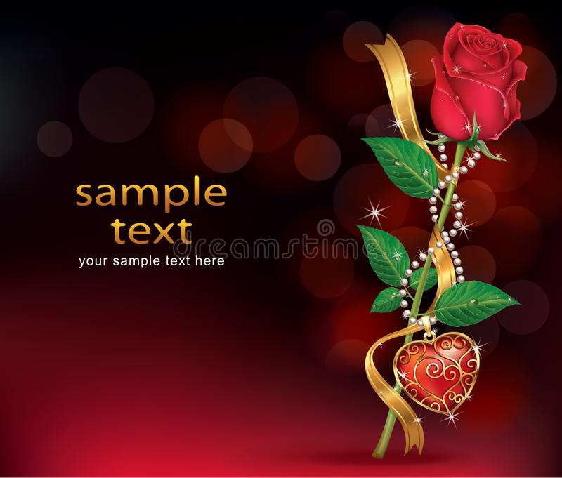 Download Beautiful Roses With Ribbon And Necklet Stock Vector - Image: 38955428
