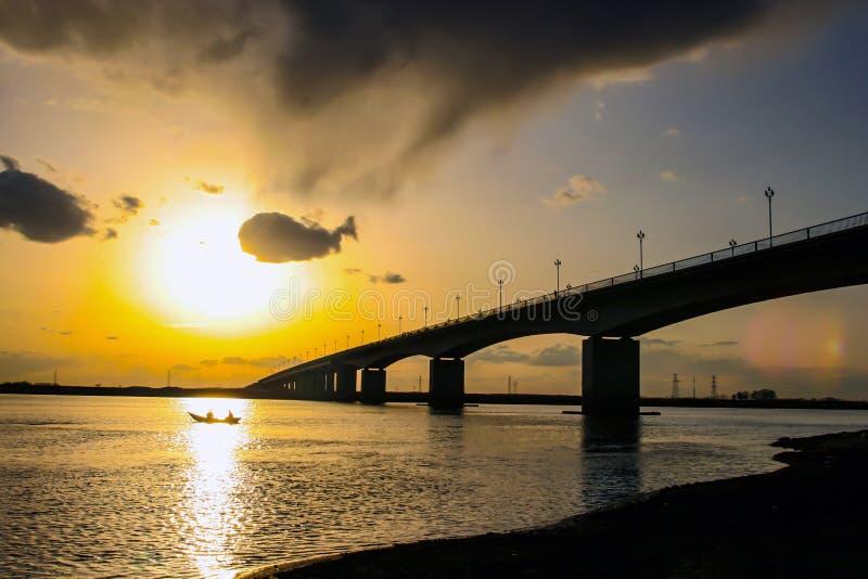 The nenjiang bridge clouds. royalty free stock photo