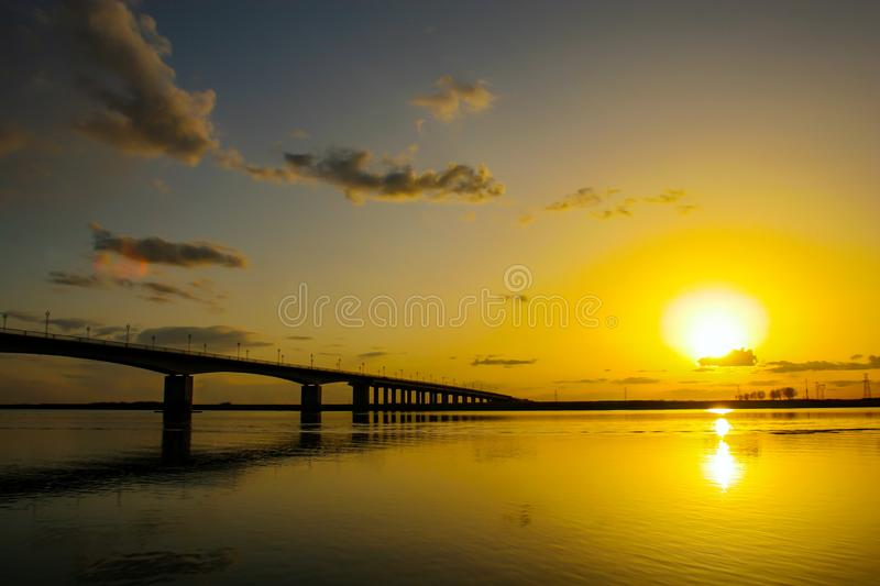 The nenjiang bridge clouds. royalty free stock images