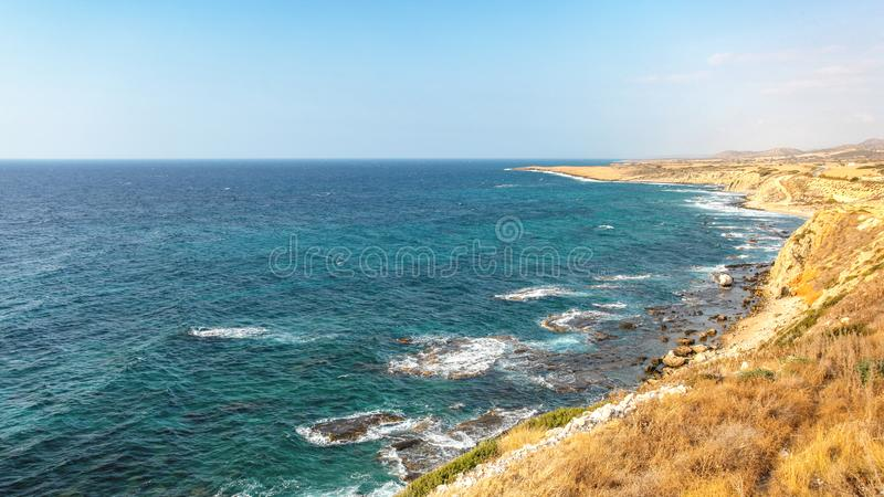 Beautiful rough coast of Mediterranean Sea in Karpass region of Northern Cyprus.  royalty free stock photo