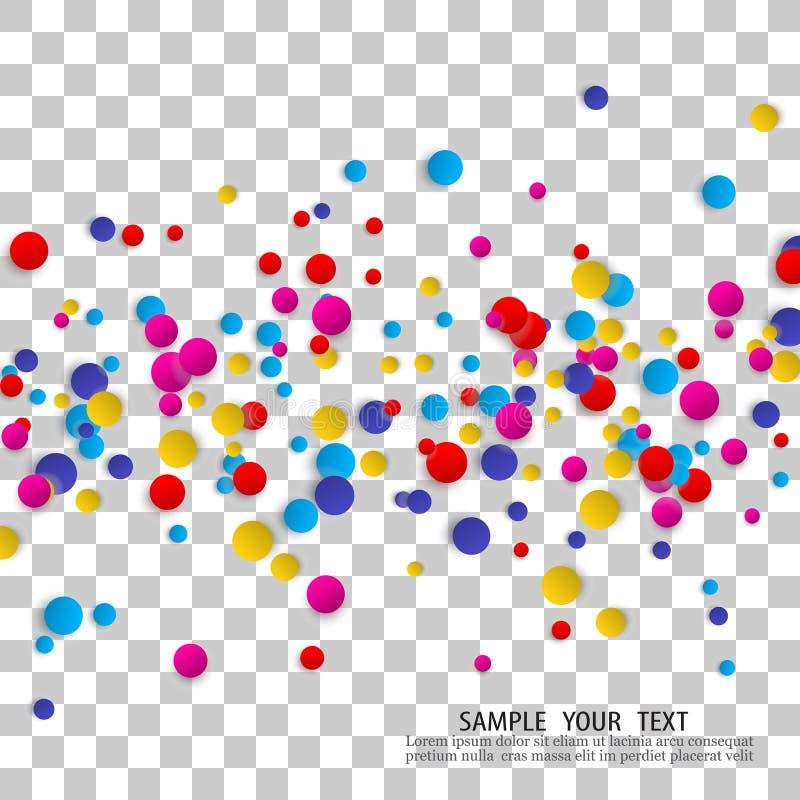 Beautiful round confetti on light background stock illustration