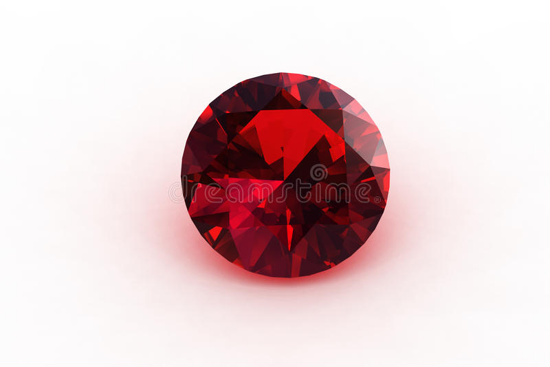 Beautiful Round European Cut Ruby Gemstone -. 3D round ruby gemstone - high resolution stock illustration