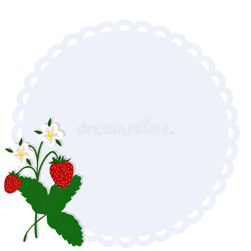 Beautiful Round Frame With Berry Strawberry. Template For Photo ...