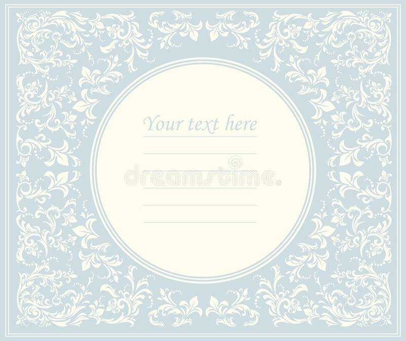 Beautiful round frame with classic ornament stock illustration