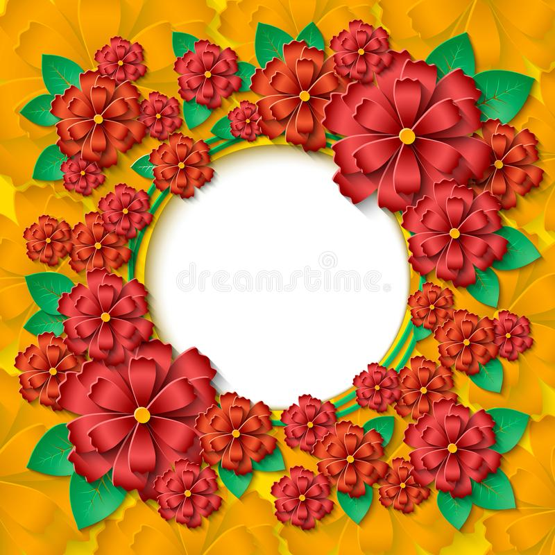 Free Beautiful Round Frame With 3d Red And Orange Paper Cut Out Flowers And Green Leaves Royalty Free Stock Photos - 111734188