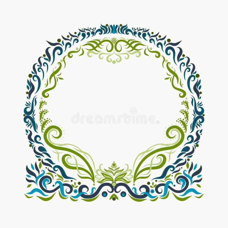 Beautiful round patterned frame in blue and green tones.  royalty free illustration