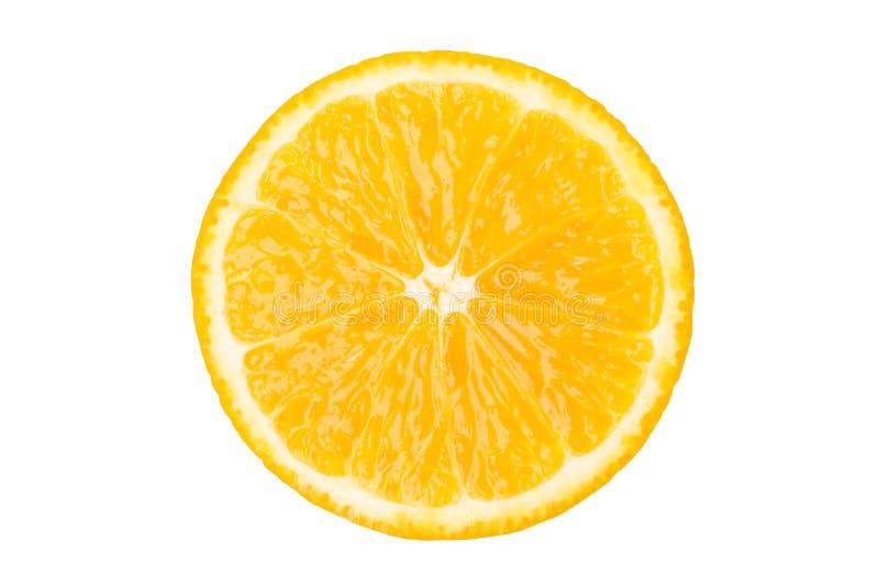 Beautiful round piece of orange citrus fruit, isolated on white stock images