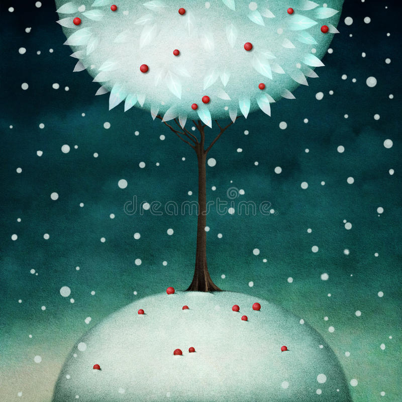 Beautiful round winter tree royalty free illustration