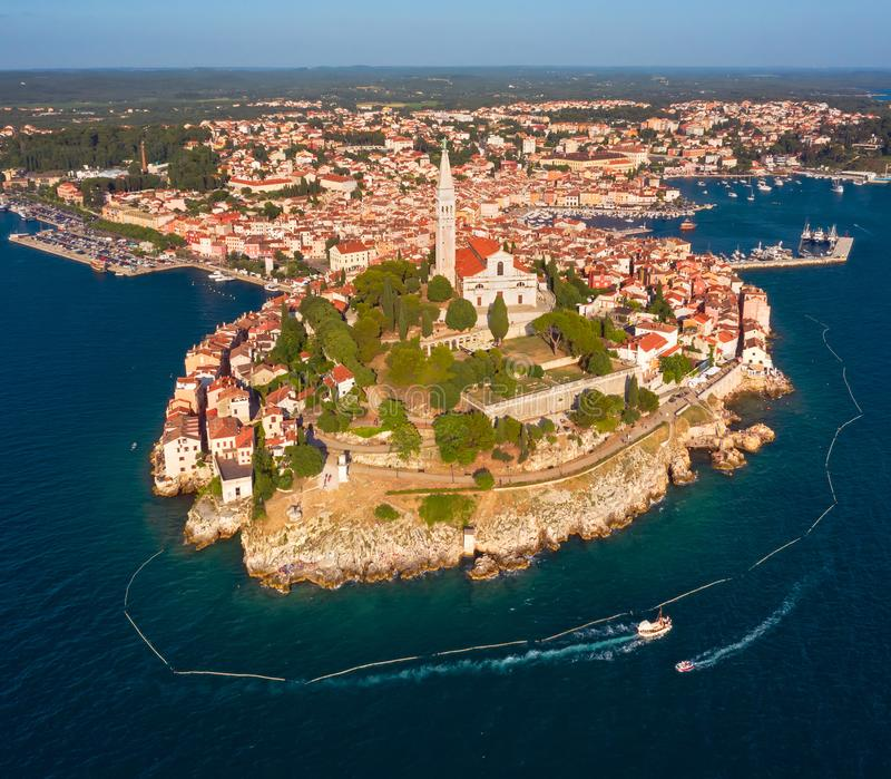 Beautiful Rovinj. Aerial photo. The old town of Rovinj, Istria, Croatia royalty free stock images