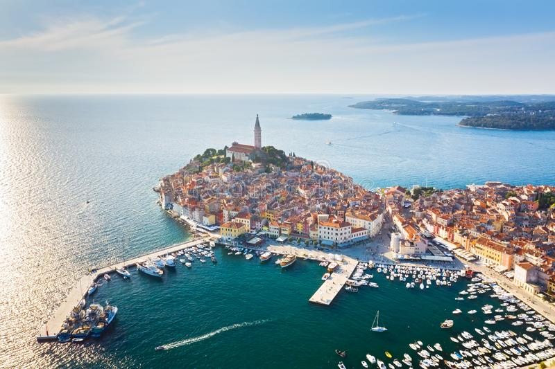 Beautiful Rovinj at sunset. Aerial photo. The old town of Rovinj, Istria, Croatia.  royalty free stock images