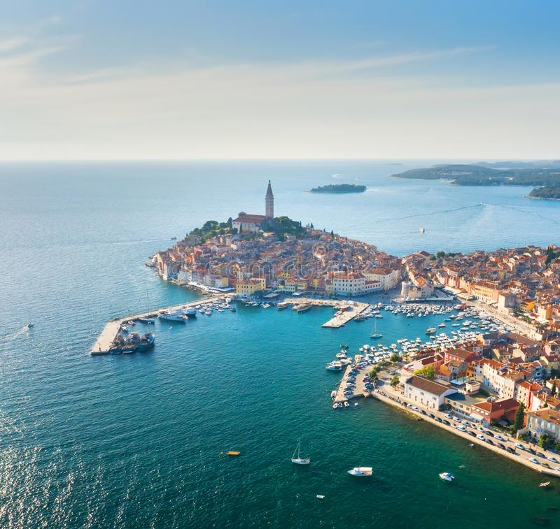 Beautiful Rovinj at sunset. Aerial photo. The old town of Rovinj, Istria, Croatia royalty free stock image