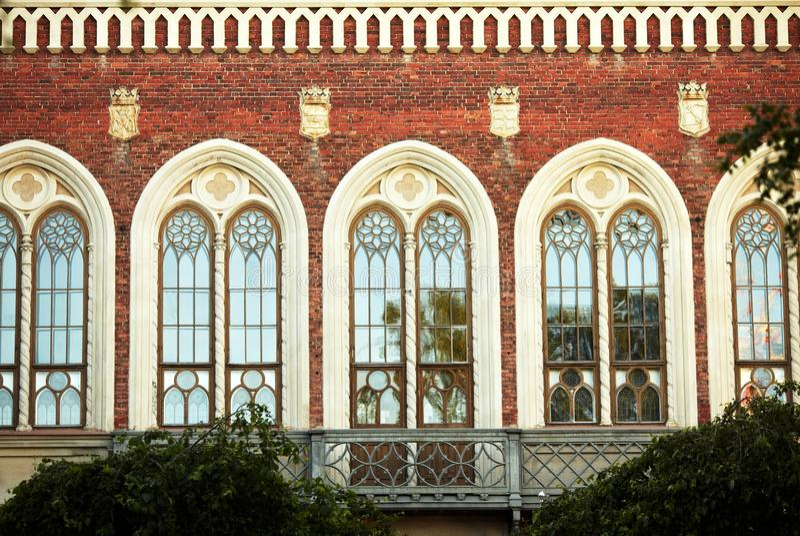 Beautiful rows of windows stock photography