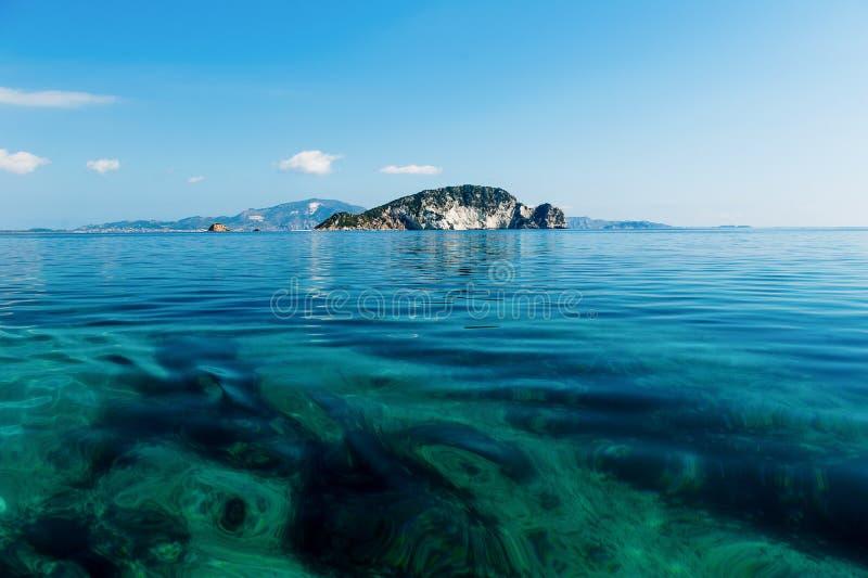 Beautiful Marathonisi Island Zakynthos clear blue water stock images