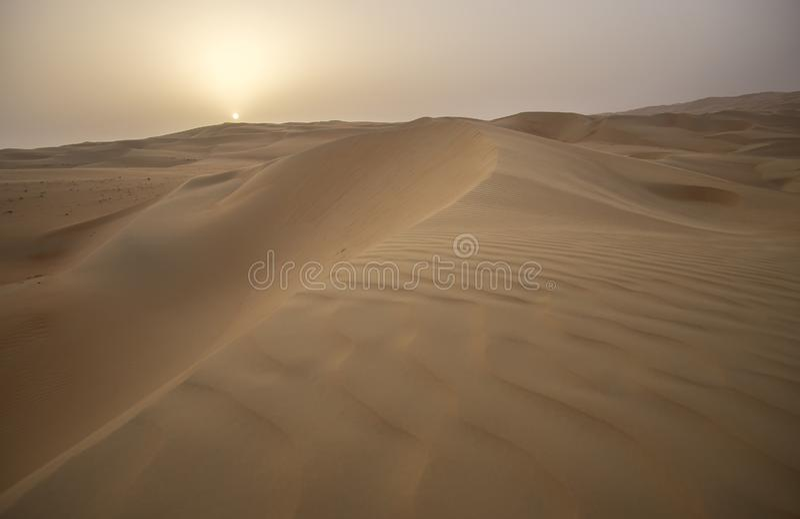Beautiful Rub al Khali desert at sunrise royalty free stock photography