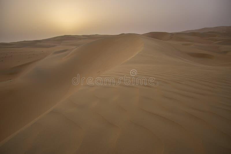 Beautiful Rub al Khali desert at sunrise stock photos
