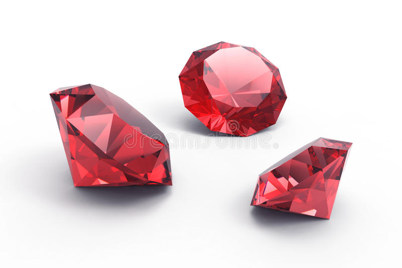 A beautiful ruby gems. Isolated on white background royalty free illustration