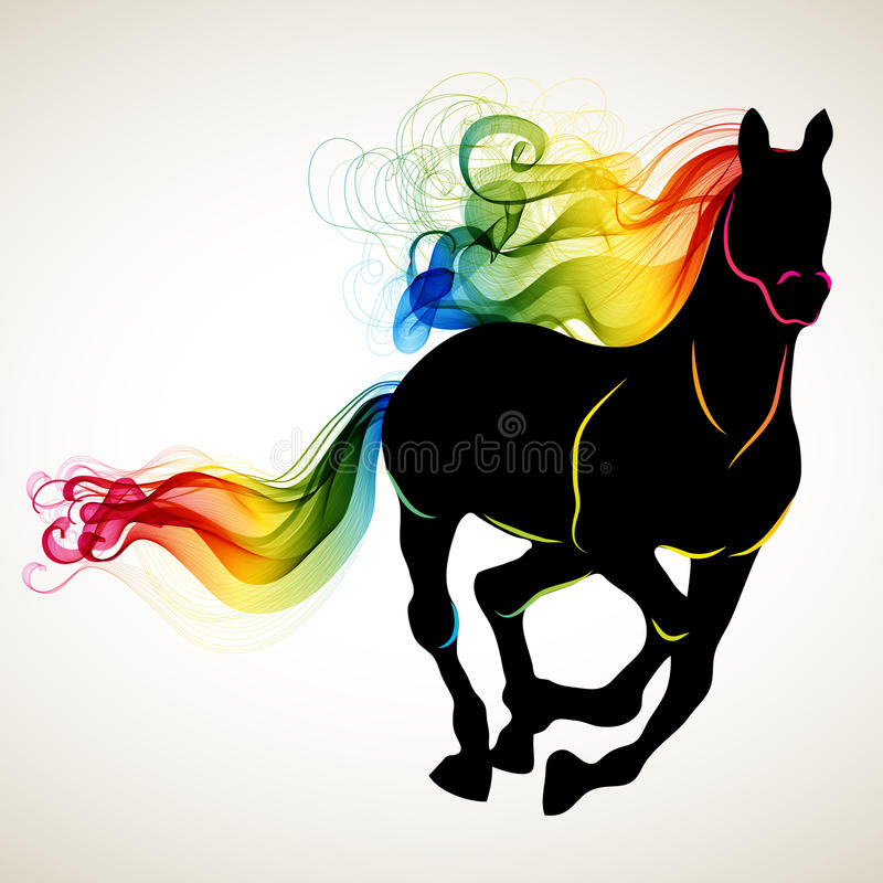 Download Beautiful Running Horse Black Silhouette With Bright Color Abstr Stock Illustration - Image: 34974159