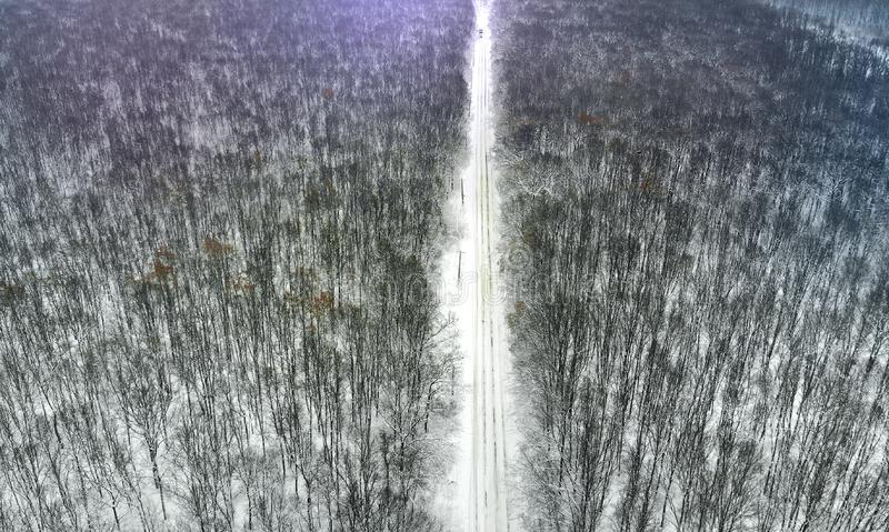 Beautiful rural country road between winter forest. Top view royalty free stock photo