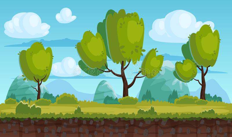 Beautiful rural landscape, fields, trees. Background mountains, clouds. For games, applications, animations, vector stock illustration