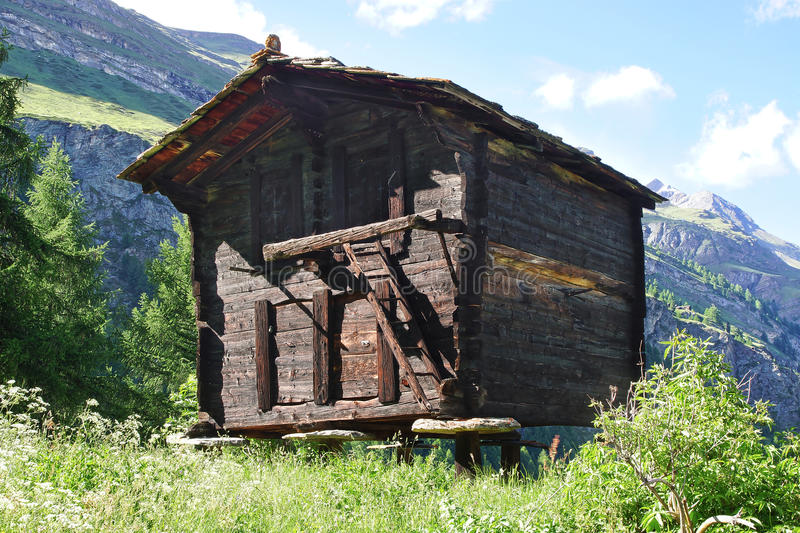 The beautiful rural landscape with old barn near stock photo