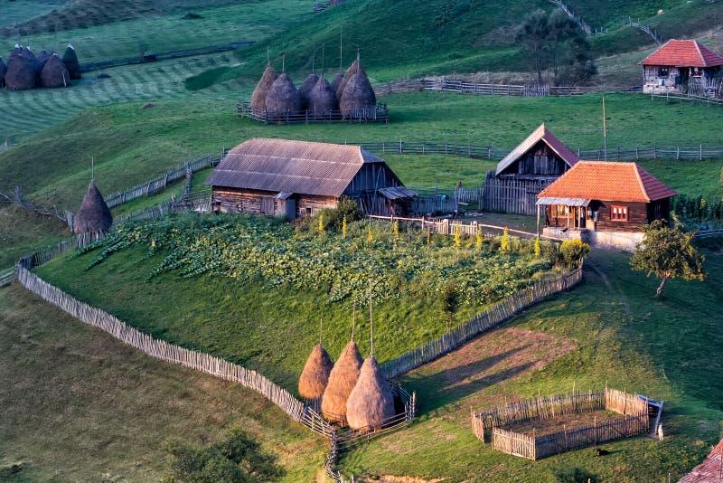 Beautiful rural mountain landscape in the sunrise morning light, Fundatura Ponorului royalty free stock photo
