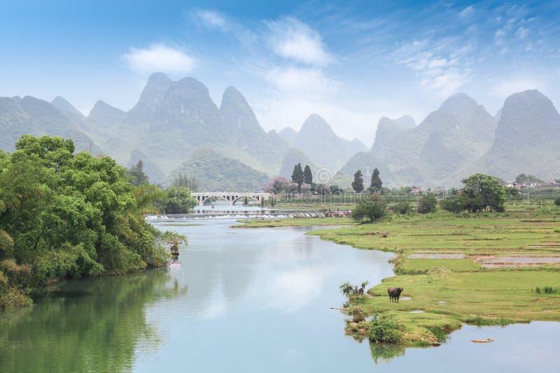 Beautiful rurality scenery of yangshuo stock photos