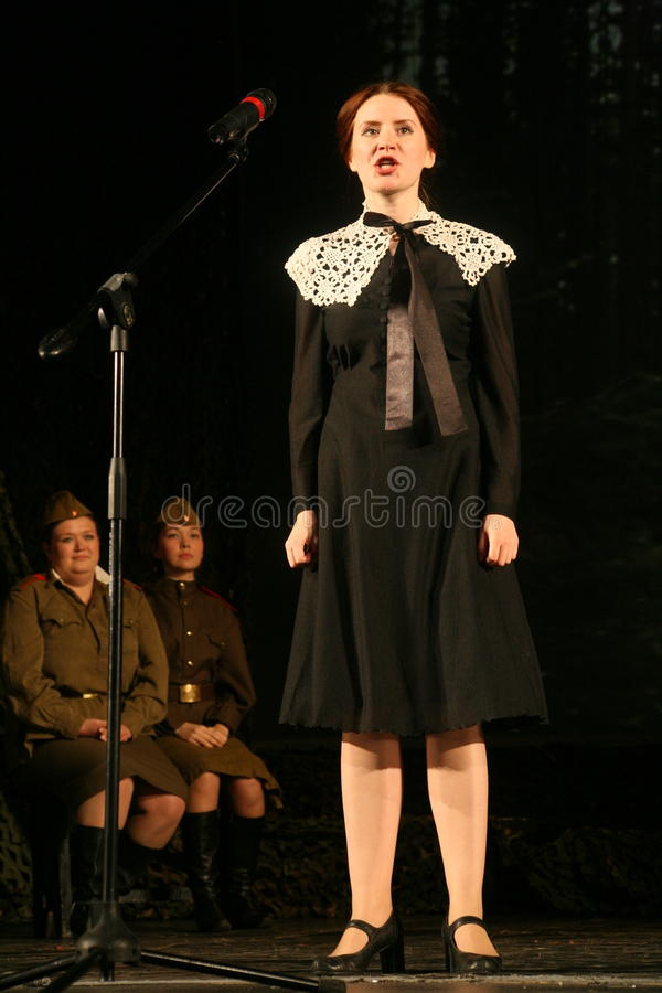 Beautiful Russian girl, a friend of the Soviet soldier is waiting for her lover to war. stock photo