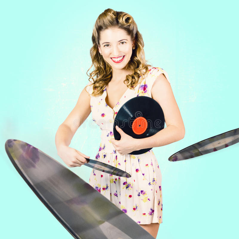 Beautiful 70s DJ Pinup Girl With Record Music Disc Stock Photo
