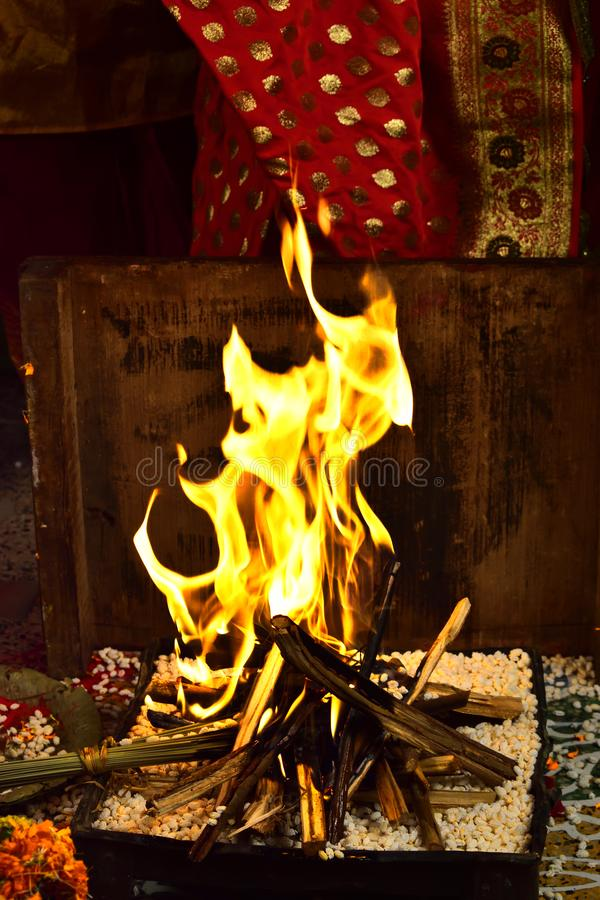 Beautiful and sacred fire place for vedic wedding stock images