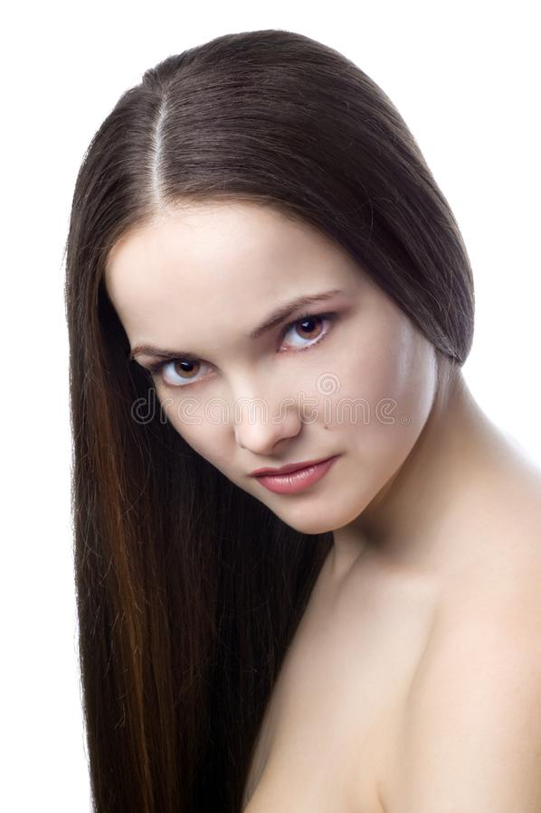 Beautiful sad brunette stock photo