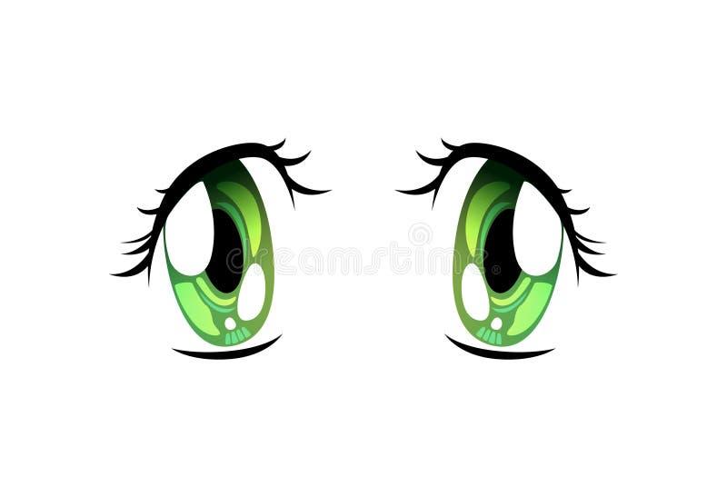 Beautiful Sad Green Eyes, Bright Eyes with Light Reflections Manga Japanese Style Vector Illustration. On White Background vector illustration