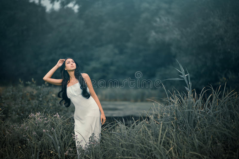 Beautiful but sad woman in fairytale, wood nymph royalty free stock images