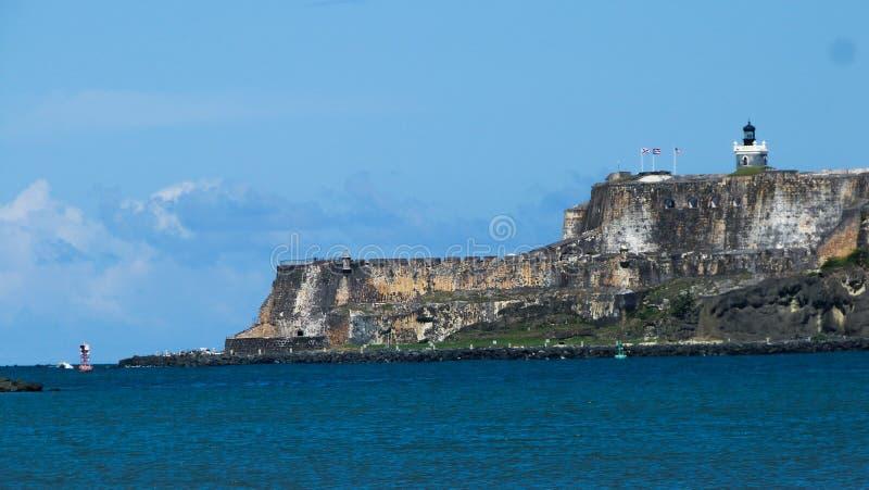 Old San Juan Morro castle. El morro castle as seen from the ocean at San Juan, Puerto Rico royalty free stock photos
