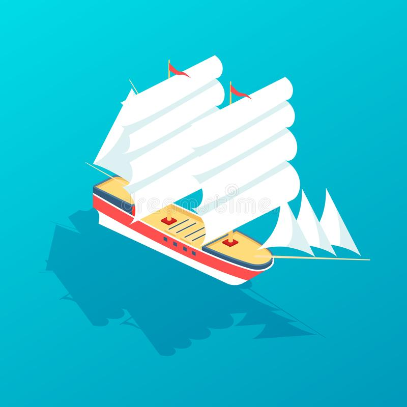 Sailboat frigate for traveling, ship for transporting people and goods. Beautiful sailboat frigate for traveling, large ship for transporting people and goods vector illustration