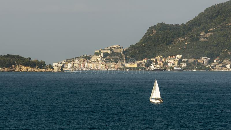 Beautiful sailing boat in the Gulf of La Spezia between Lerici and Portovenere, Liguria, Italy stock images