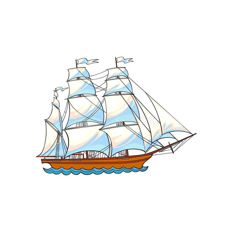 Free Beautiful Sailing Ship, Sailboat With White Sails Royalty Free Stock Photo - 98928695