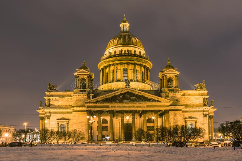Beautiful Saint Isaac`s Cathedral or Isaakievskiy Sobor in Saint Petersburg, Russia. In the cold winter evening or night royalty free stock photos