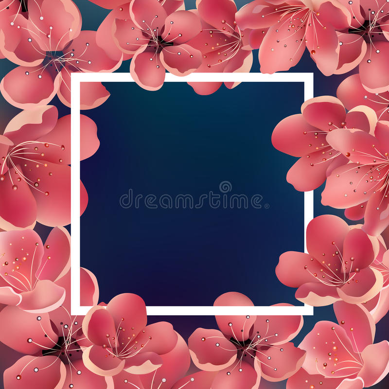 Beautiful Sakura Floral Template with White Square Frame. For Greeting Cards, Invitations, Announcements. Eps 10 royalty free illustration