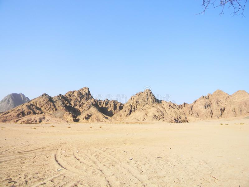 Desert background landscape with mountains stock photo