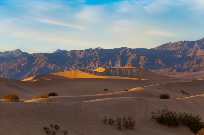 Beautiful sand dunes in Death Valley sunset light royalty free stock image