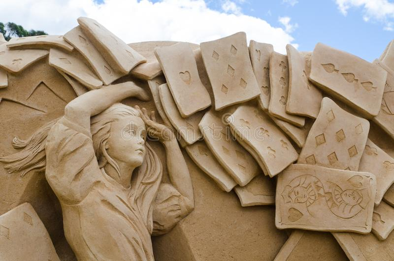 Beautiful Sand Sculpture `Card Soldiers` in Wonderland exhibition, at Blacktown Showground. SYDNEY, AUSTRALIA – On January 14, 2018. – Beautiful stock photo