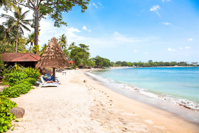 Beautiful sand Sengigi beach, Lombok royalty free stock images
