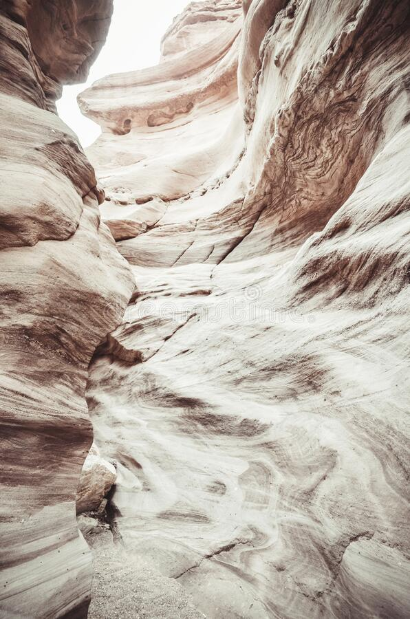 Beautiful sandstone cliffs of the Red Canyon in the mountains of Southern Eilat, Israel. Image stock photos