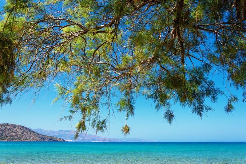 A beautiful sandy beach in Istron, Crete, Greece. stock photos