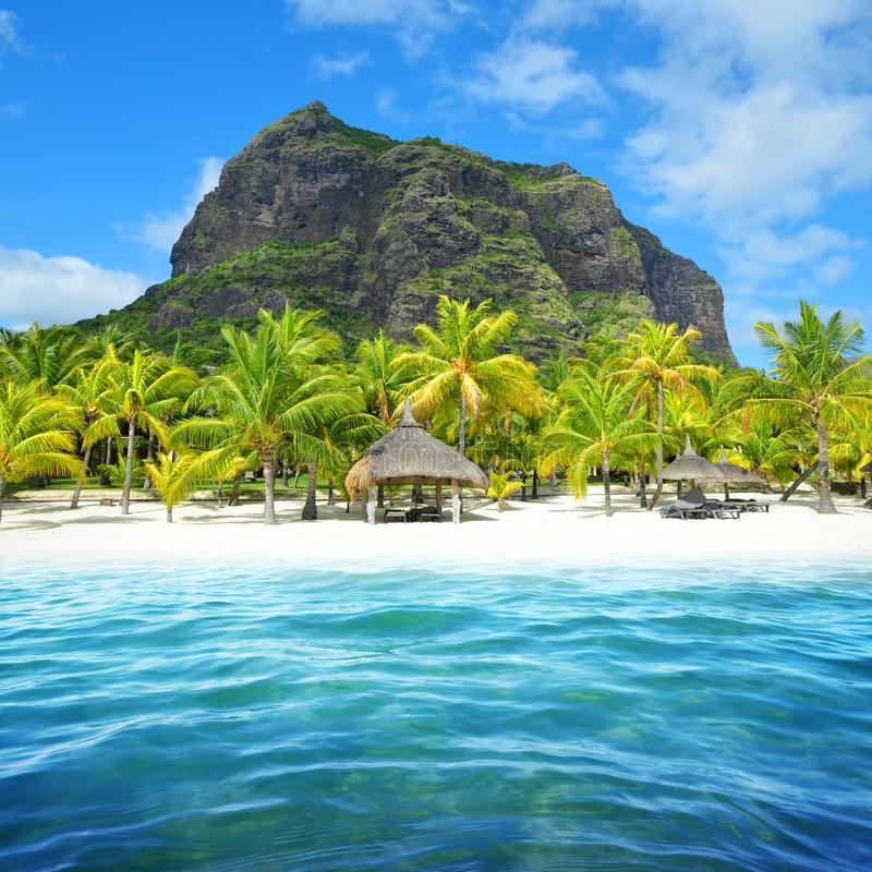 Beautiful sandy beach with Le Morne Brabant mountain on the south of Mauritius island. royalty free stock photo