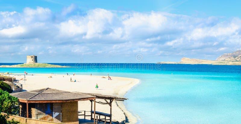 Beautiful sandy beaches of Mediterranean, La Pelosa, Stintino, Sardinia, Italy stock images
